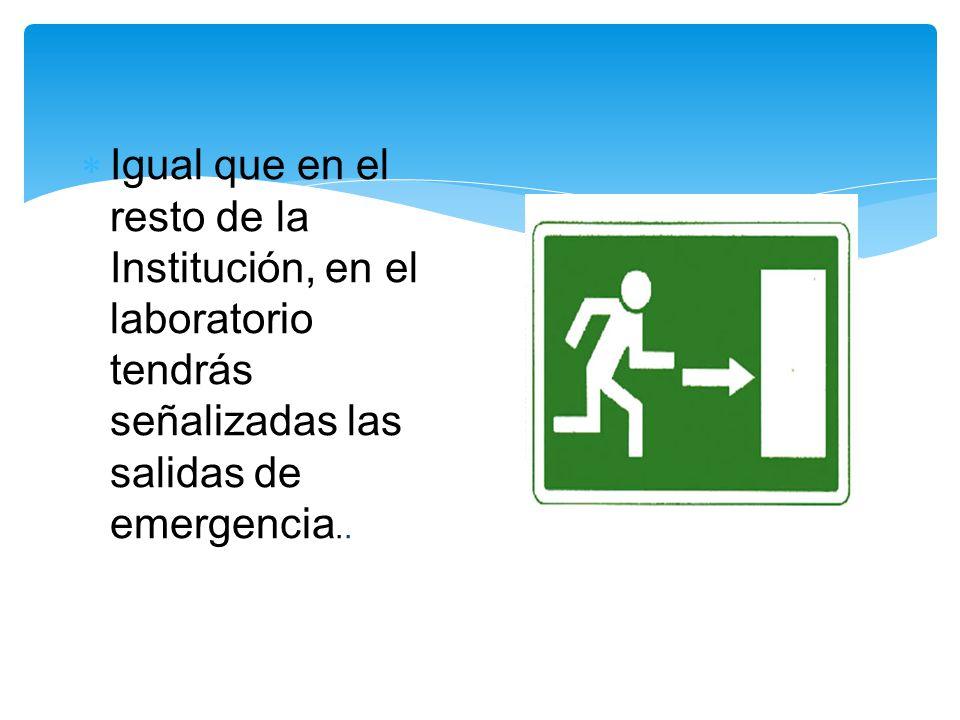 Igual que en el resto de la Institución, en el laboratorio tendrás señalizadas las salidas de emergencia..
