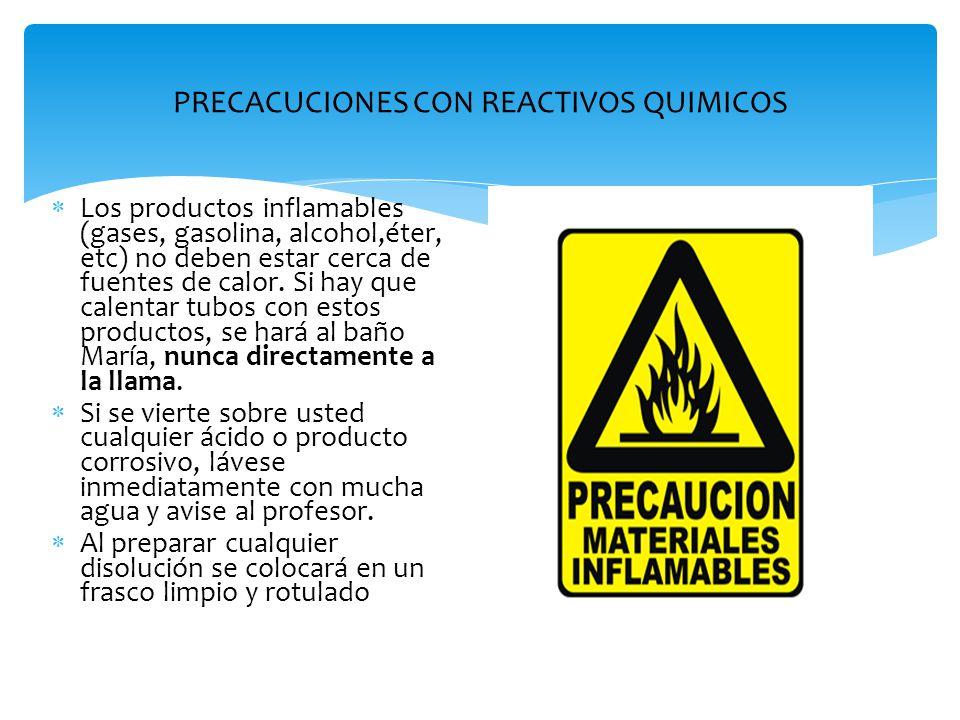 PRECACUCIONES CON REACTIVOS QUIMICOS