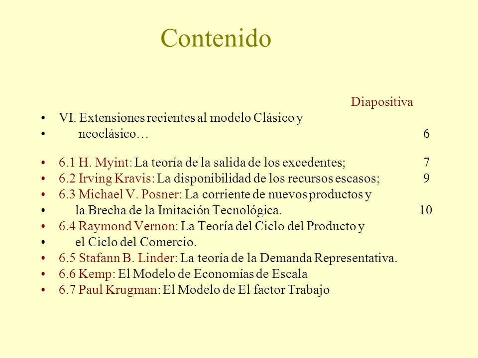 Contenido Diapositiva VI. Extensiones recientes al modelo Clásico y