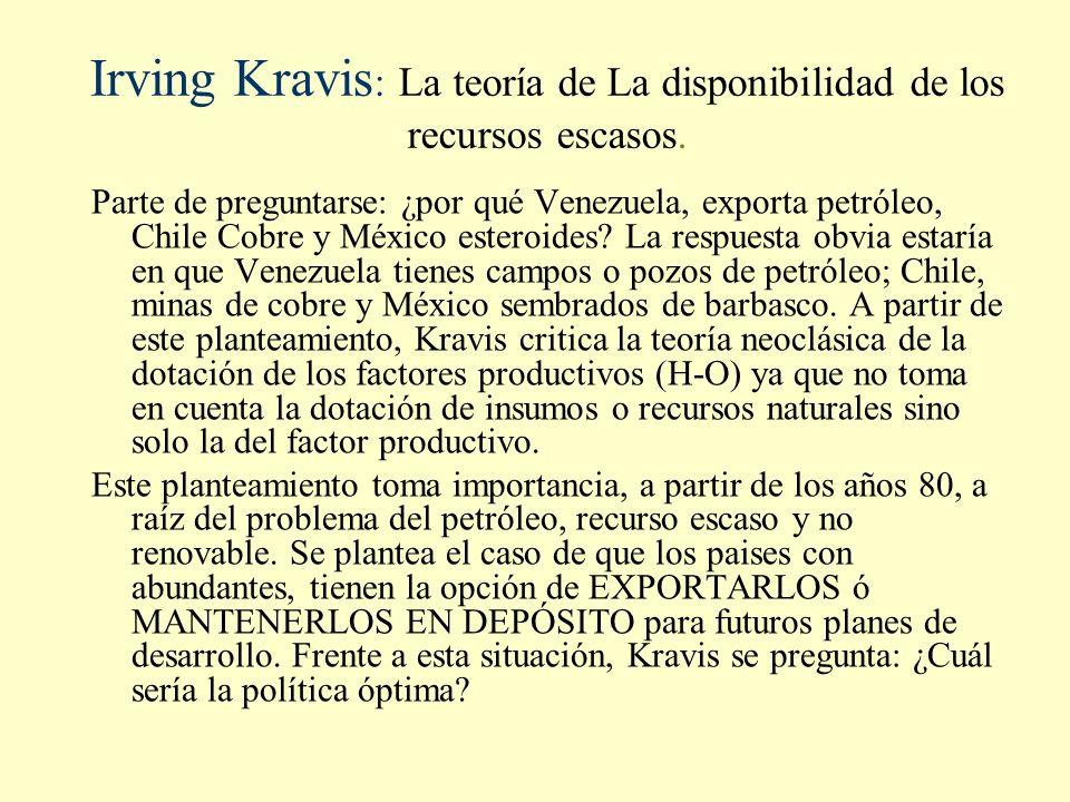 Irving Kravis: La teoría de La disponibilidad de los recursos escasos.