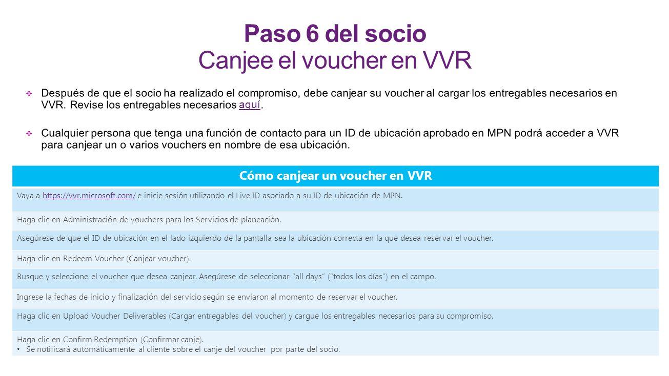Paso 6 del socio Canjee el voucher en VVR