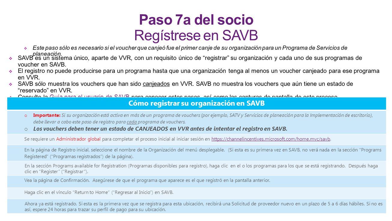 Paso 7a del socio Regístrese en SAVB