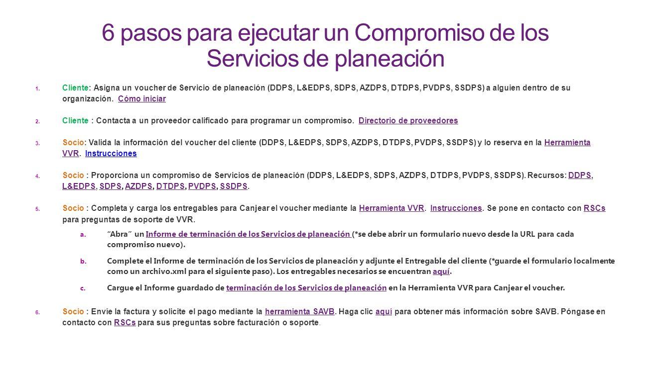 6 pasos para ejecutar un Compromiso de los Servicios de planeación