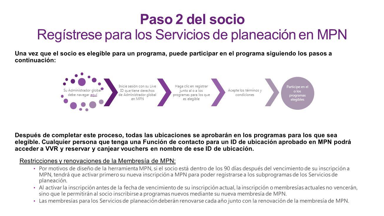 Paso 2 del socio Regístrese para los Servicios de planeación en MPN