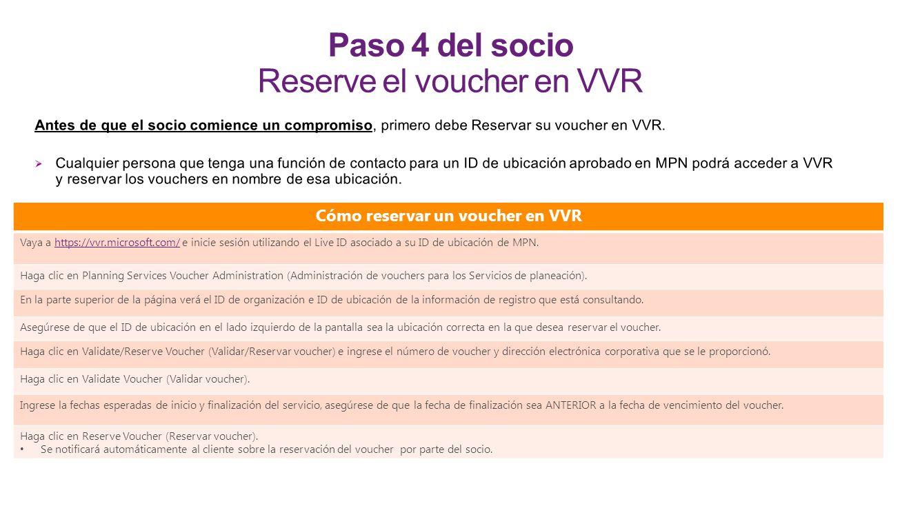 Paso 4 del socio Reserve el voucher en VVR