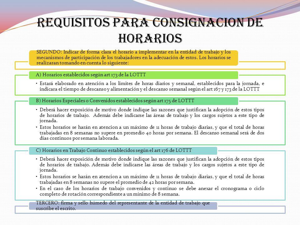 REQUISITOS PARA CONSIGNACION DE HORARIOS