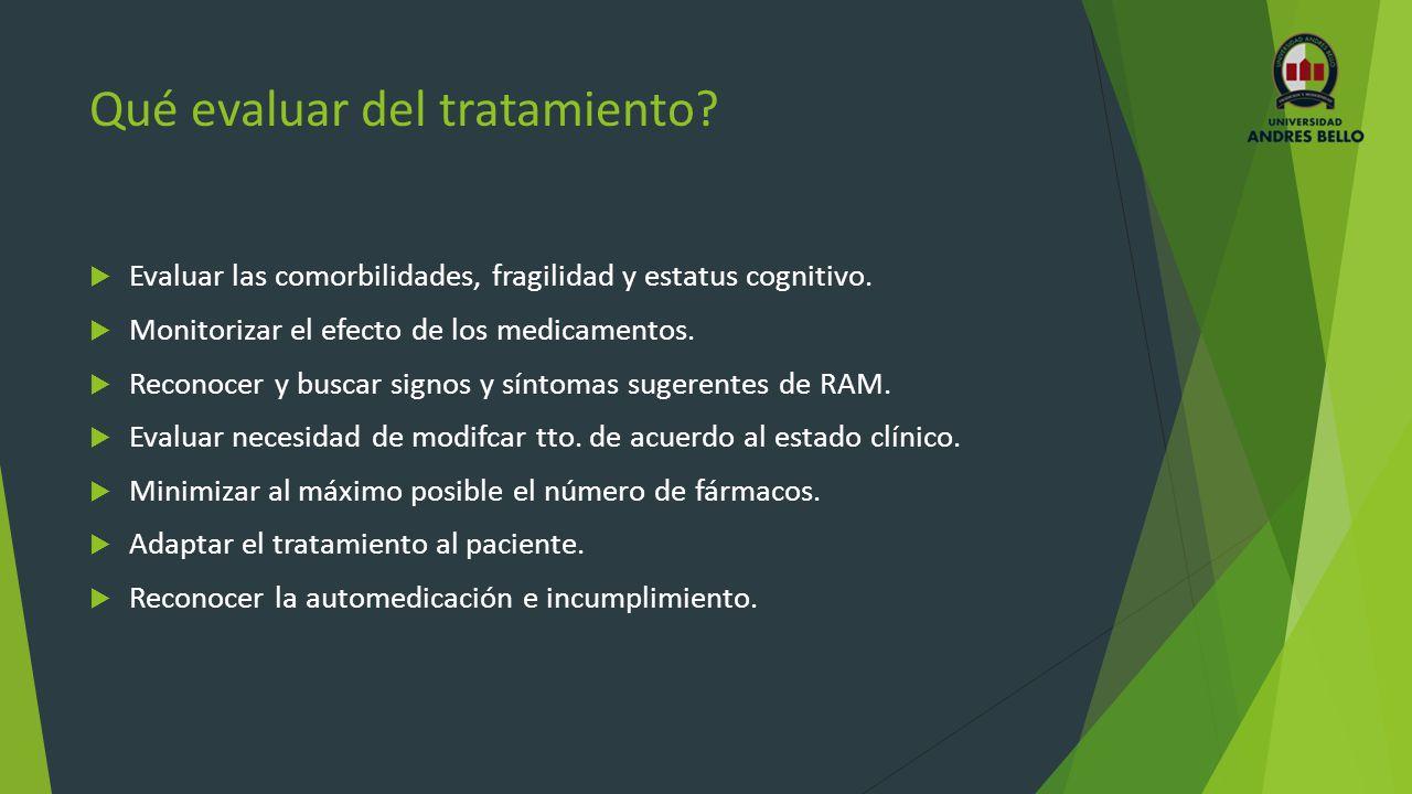 Qué evaluar del tratamiento