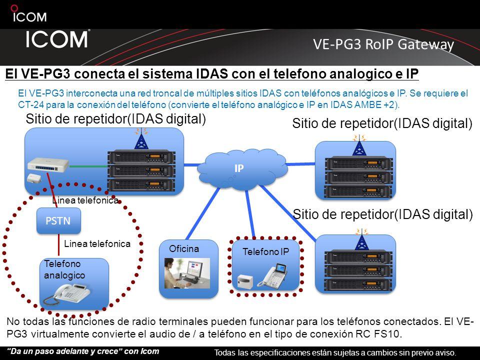 El VE-PG3 conecta el sistema IDAS con el telefono analogico e IP