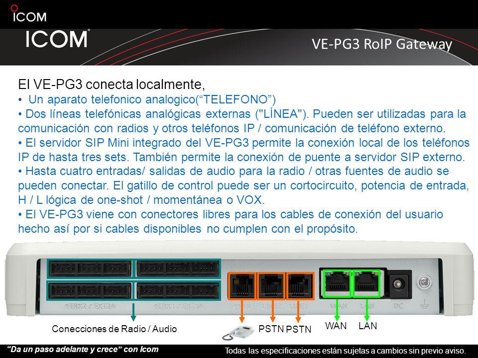 El VE-PG3 conecta localmente,
