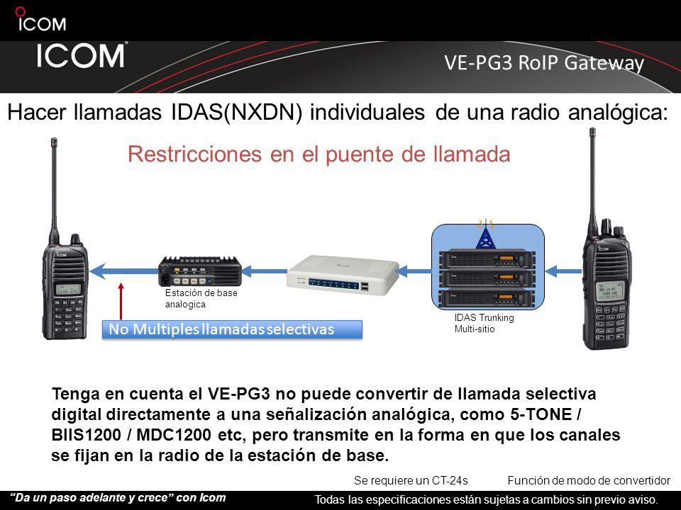 Hacer llamadas IDAS(NXDN) individuales de una radio analógica: