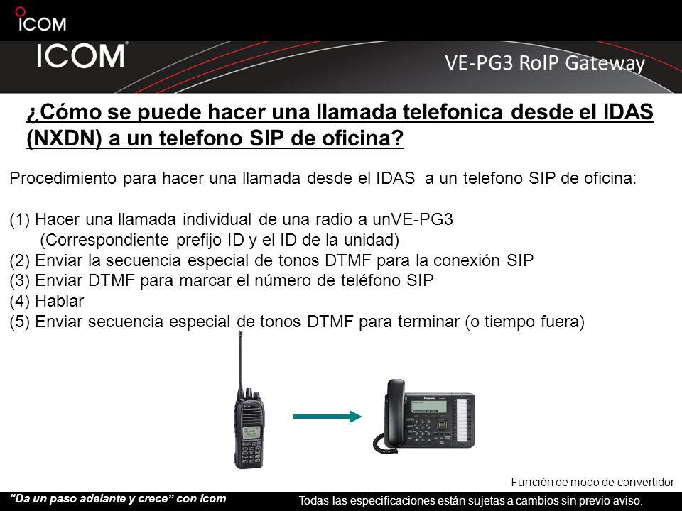 ¿Cómo se puede hacer una llamada telefonica desde el IDAS (NXDN) a un telefono SIP de oficina