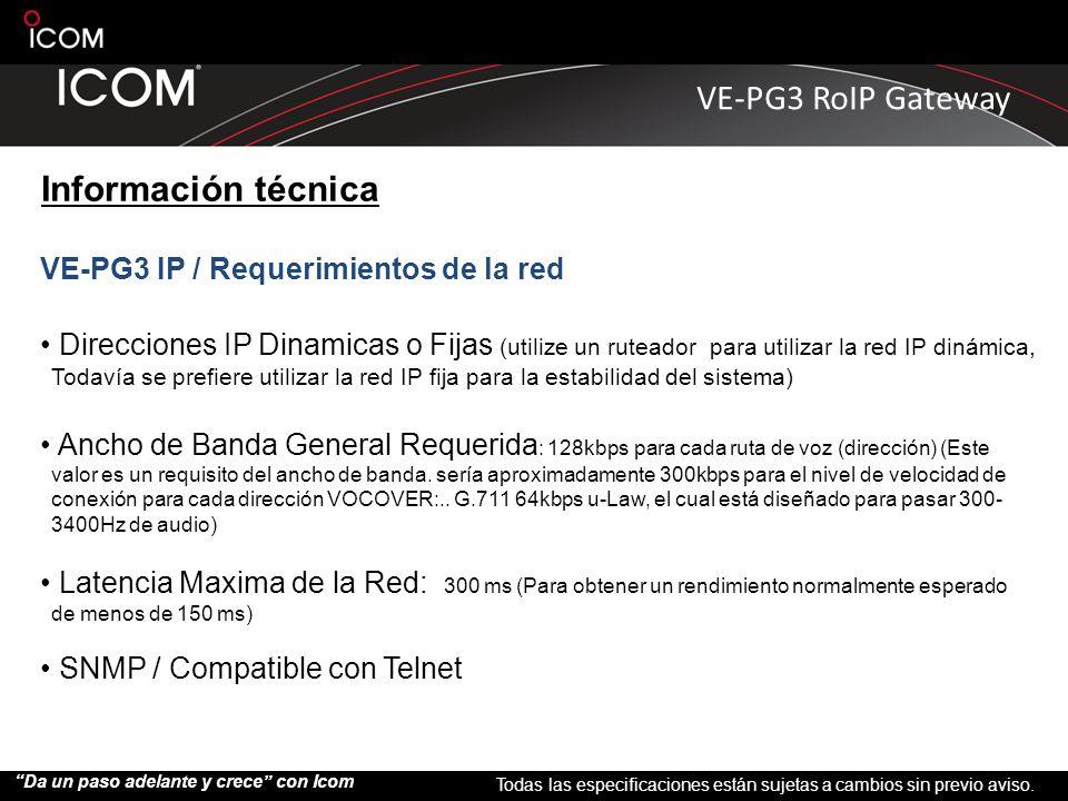 Información técnica VE-PG3 IP / Requerimientos de la red