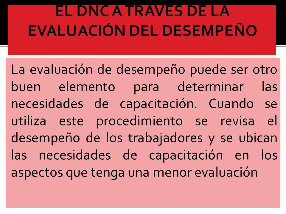 EL DNC A TRAVÉS DE LA EVALUACIÓN DEL DESEMPEÑO