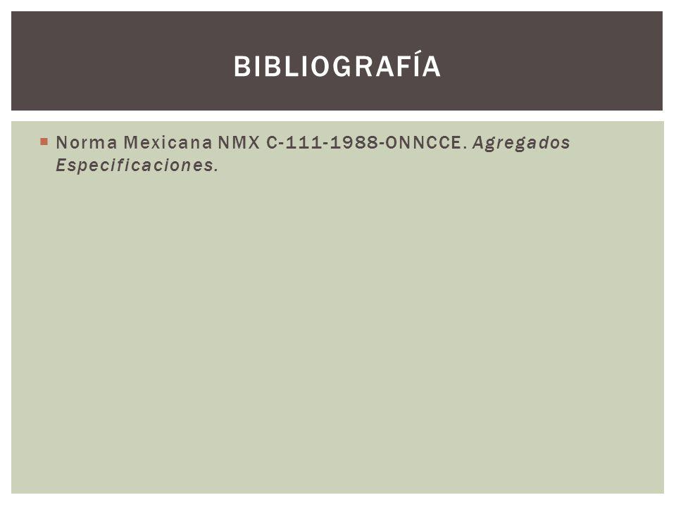 bibliografía Norma Mexicana NMX C-111-1988-ONNCCE. Agregados Especificaciones.