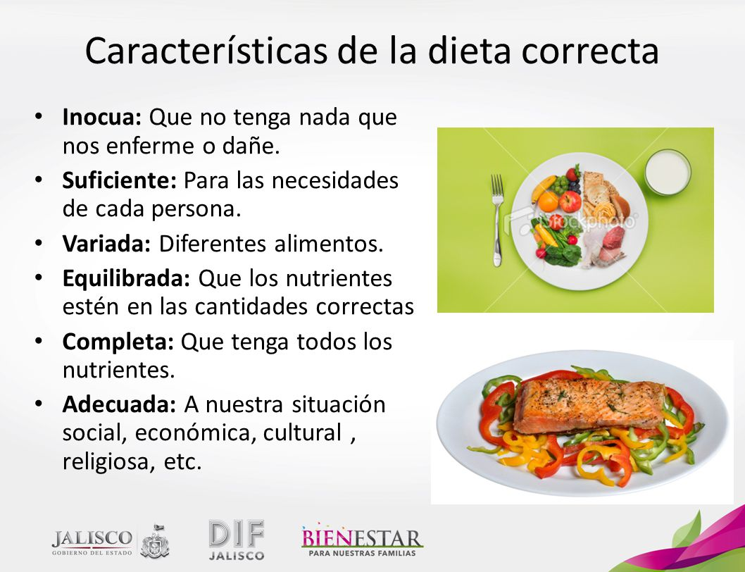 Características de la dieta correcta