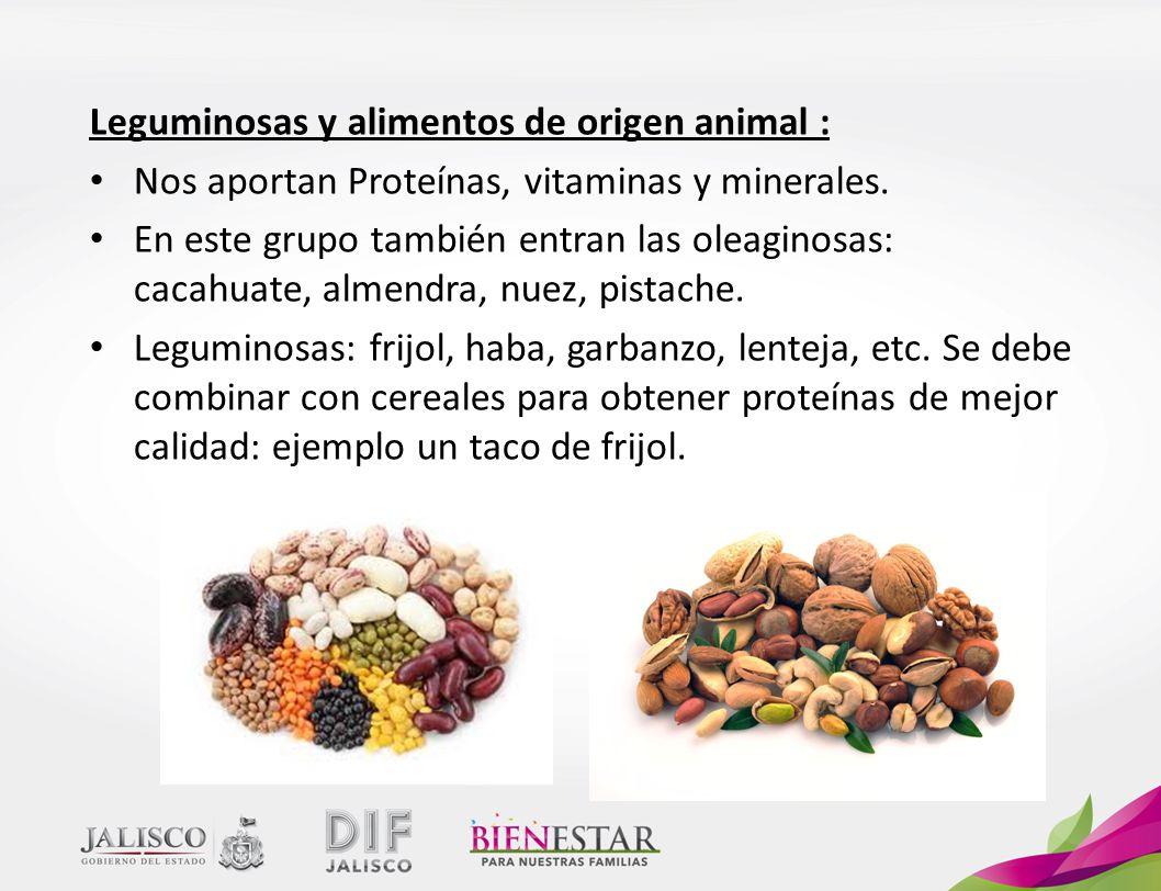 Leguminosas y alimentos de origen animal :