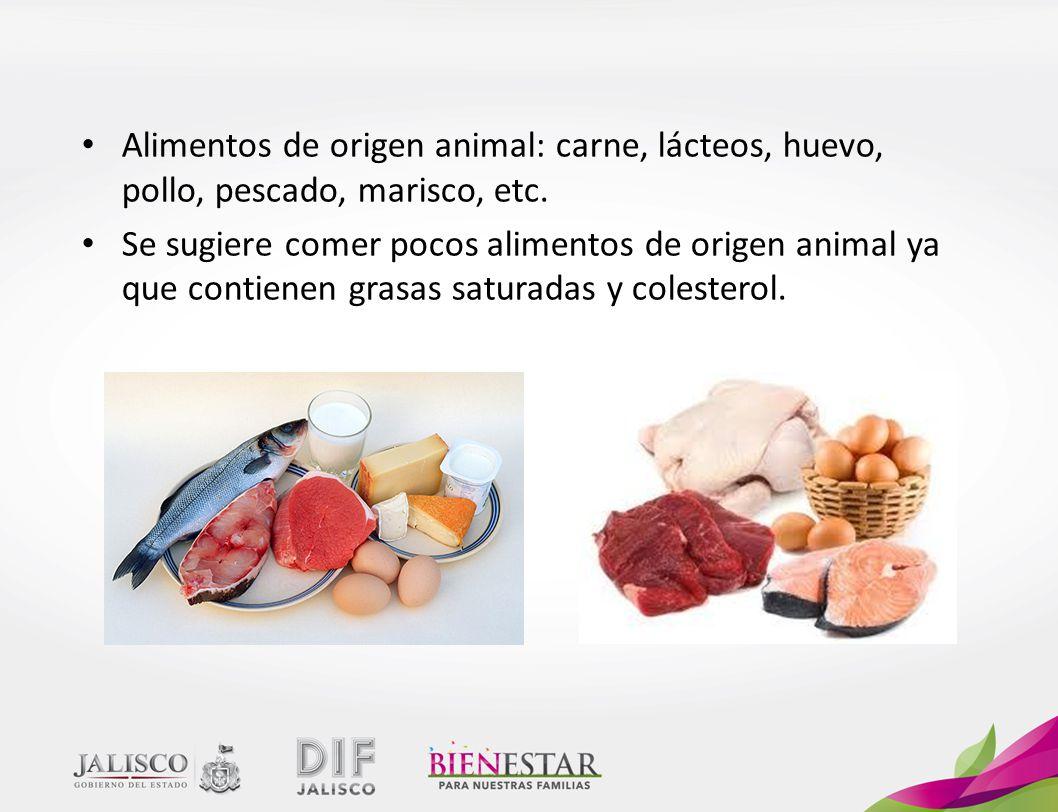 Alimentos de origen animal: carne, lácteos, huevo, pollo, pescado, marisco, etc.