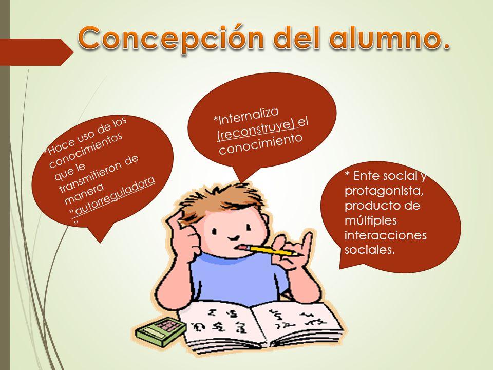 Concepción del alumno. *Internaliza (reconstruye) el conocimiento