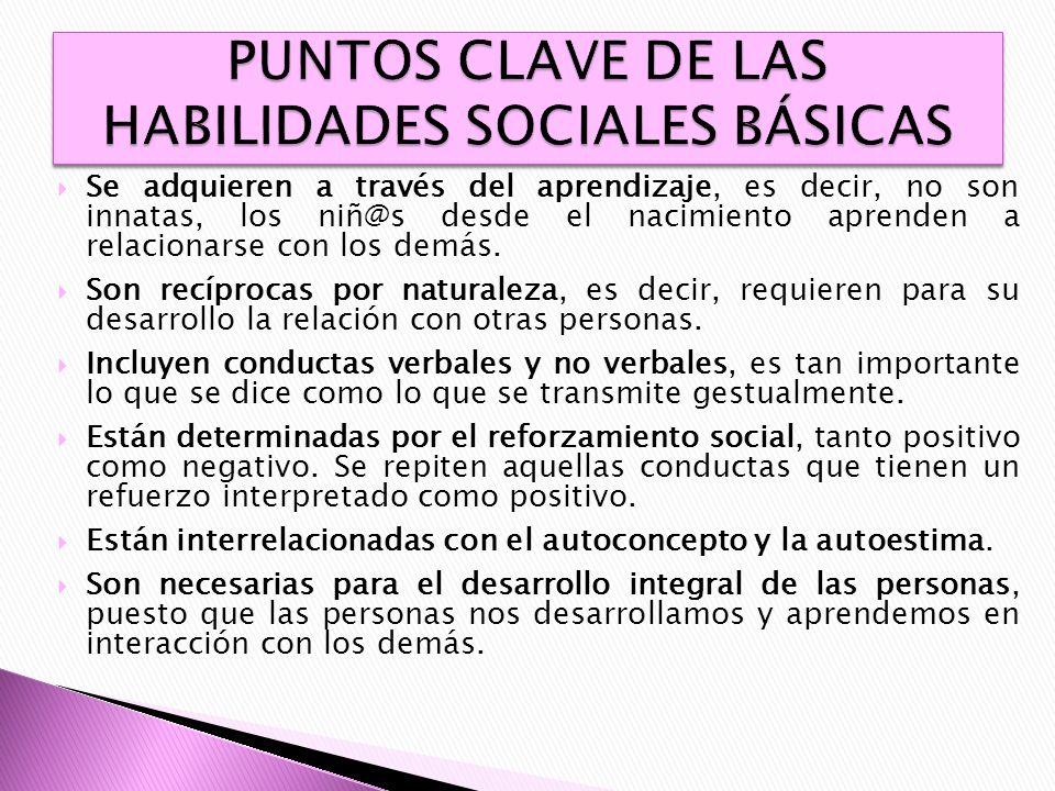 PUNTOS CLAVE DE LAS HABILIDADES SOCIALES BÁSICAS