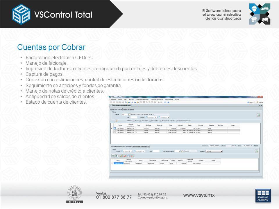 Cuentas por Cobrar Facturación electrónica CFDi´s.