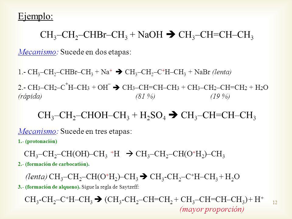CH3–CH2–CHBr–CH3 + NaOH  CH3–CH=CH–CH3