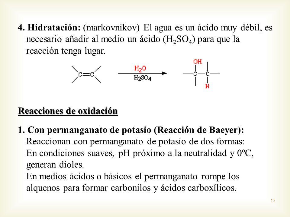 4. Hidratación: (markovnikov) El agua es un ácido muy débil, es necesario añadir al medio un ácido (H2SO4) para que la reacción tenga lugar.