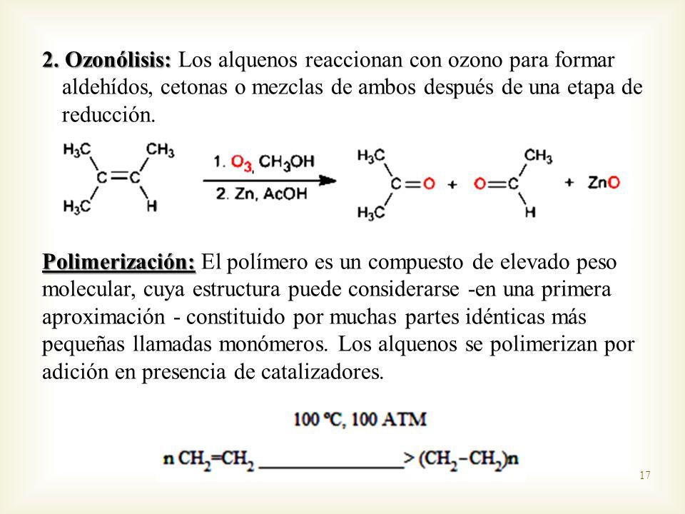 2. Ozonólisis: Los alquenos reaccionan con ozono para formar aldehídos, cetonas o mezclas de ambos después de una etapa de reducción.