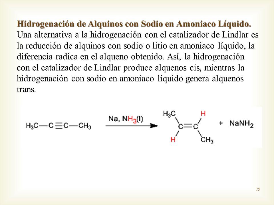 Hidrogenación de Alquinos con Sodio en Amoniaco Líquido