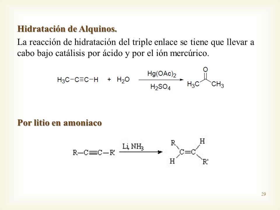 Hidratación de Alquinos.