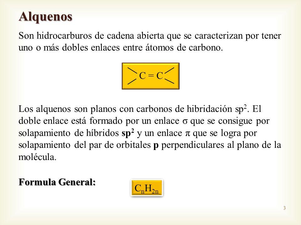 Alquenos Son hidrocarburos de cadena abierta que se caracterizan por tener uno o más dobles enlaces entre átomos de carbono.