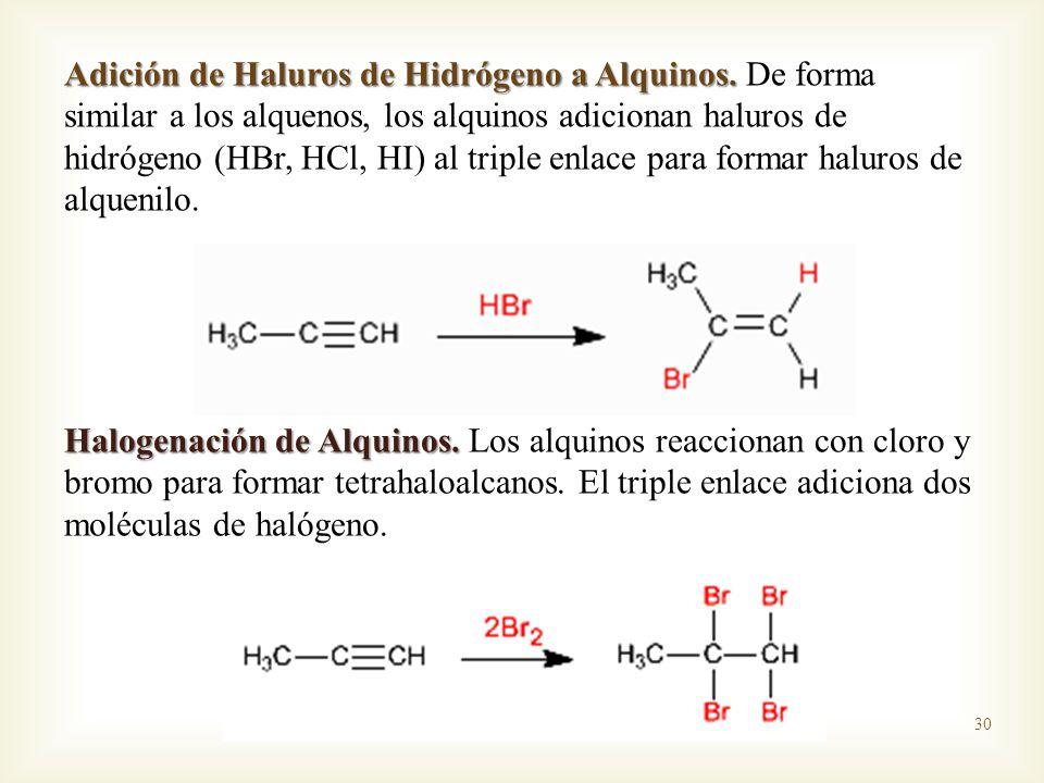 Adición de Haluros de Hidrógeno a Alquinos