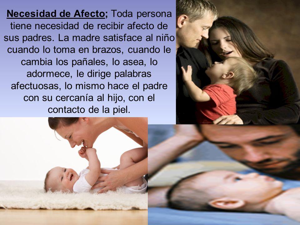 Necesidad de Afecto; Toda persona tiene necesidad de recibir afecto de sus padres.
