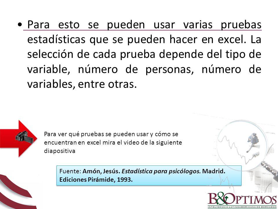 Para esto se pueden usar varias pruebas estadísticas que se pueden hacer en excel. La selección de cada prueba depende del tipo de variable, número de personas, número de variables, entre otras.