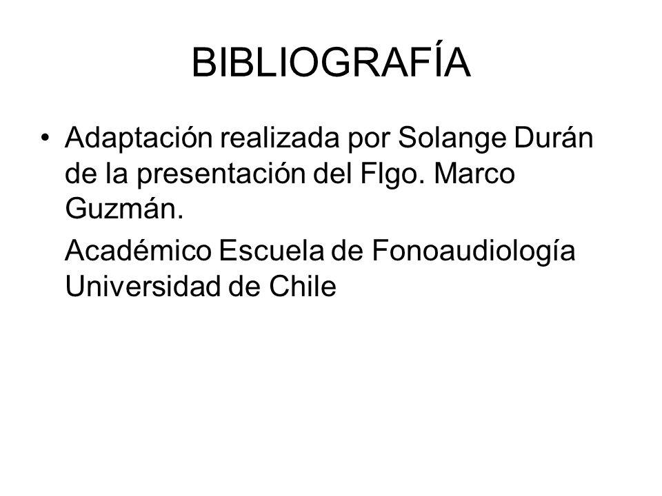 BIBLIOGRAFÍA Adaptación realizada por Solange Durán de la presentación del Flgo. Marco Guzmán.