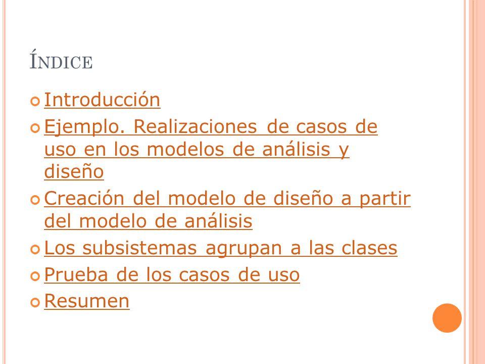 Índice Introducción. Ejemplo. Realizaciones de casos de uso en los modelos de análisis y diseño.