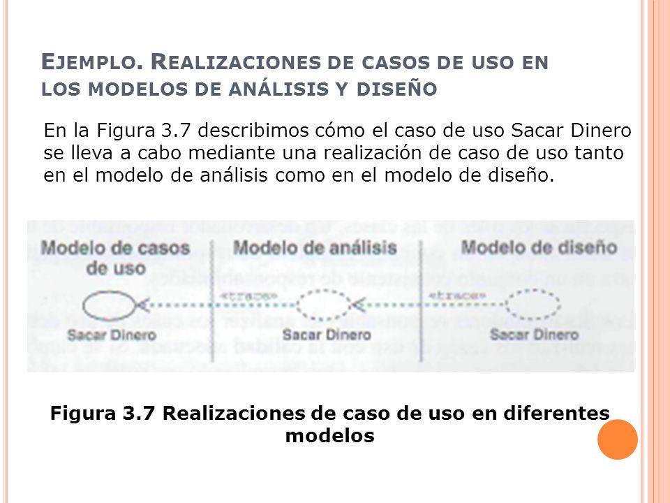 Figura 3.7 Realizaciones de caso de uso en diferentes modelos