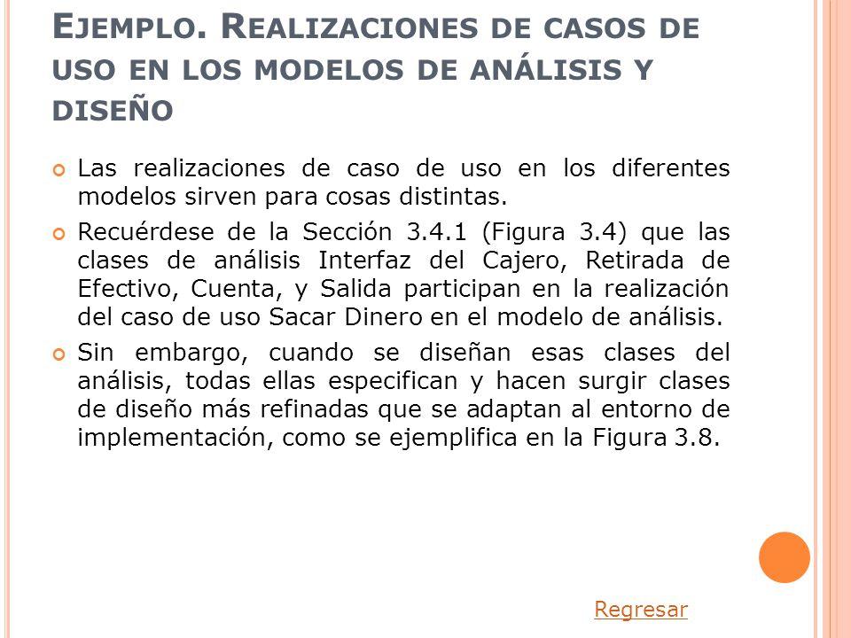 Ejemplo. Realizaciones de casos de uso en los modelos de análisis y diseño