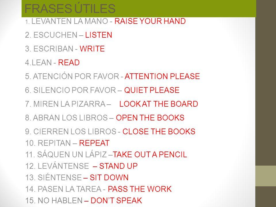 FRASES ÚTILES 2. ESCUCHEN – LISTEN 3. ESCRIBAN - WRITE 4.LEAN - READ
