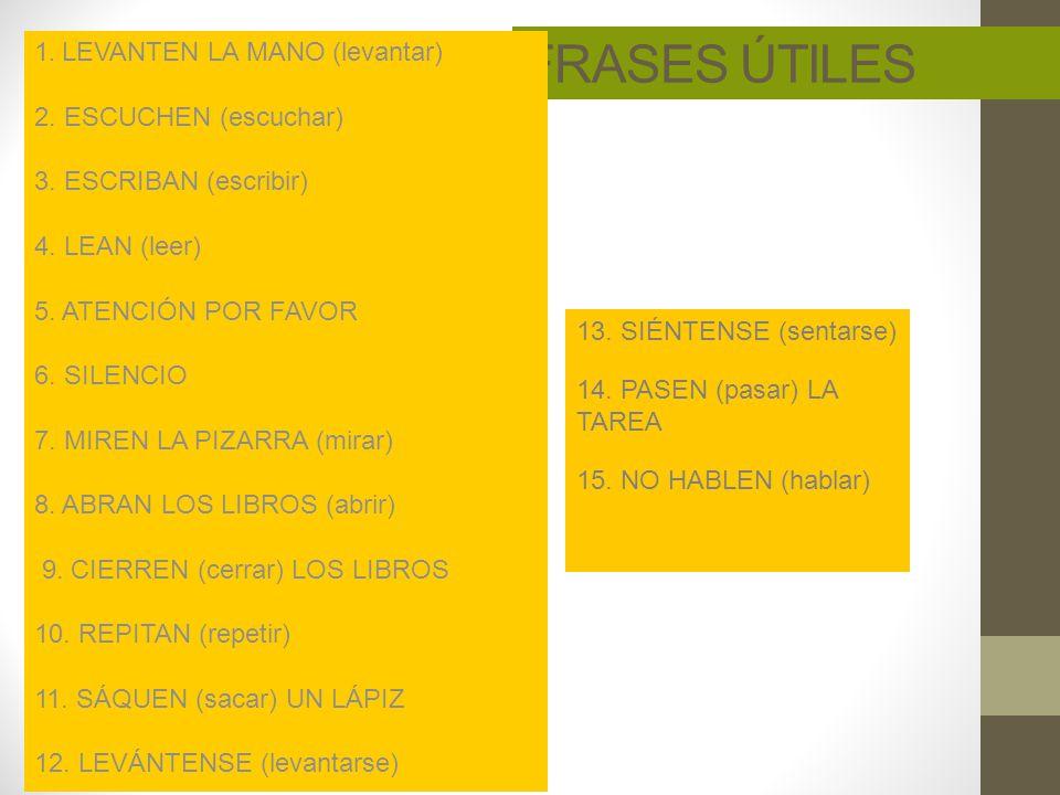 FRASES ÚTILES 1. LEVANTEN LA MANO (levantar) 2. ESCUCHEN (escuchar)