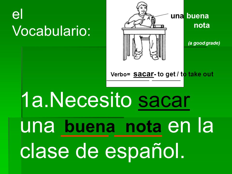 1a.Necesito sacar una ____ ____ en la clase de español.