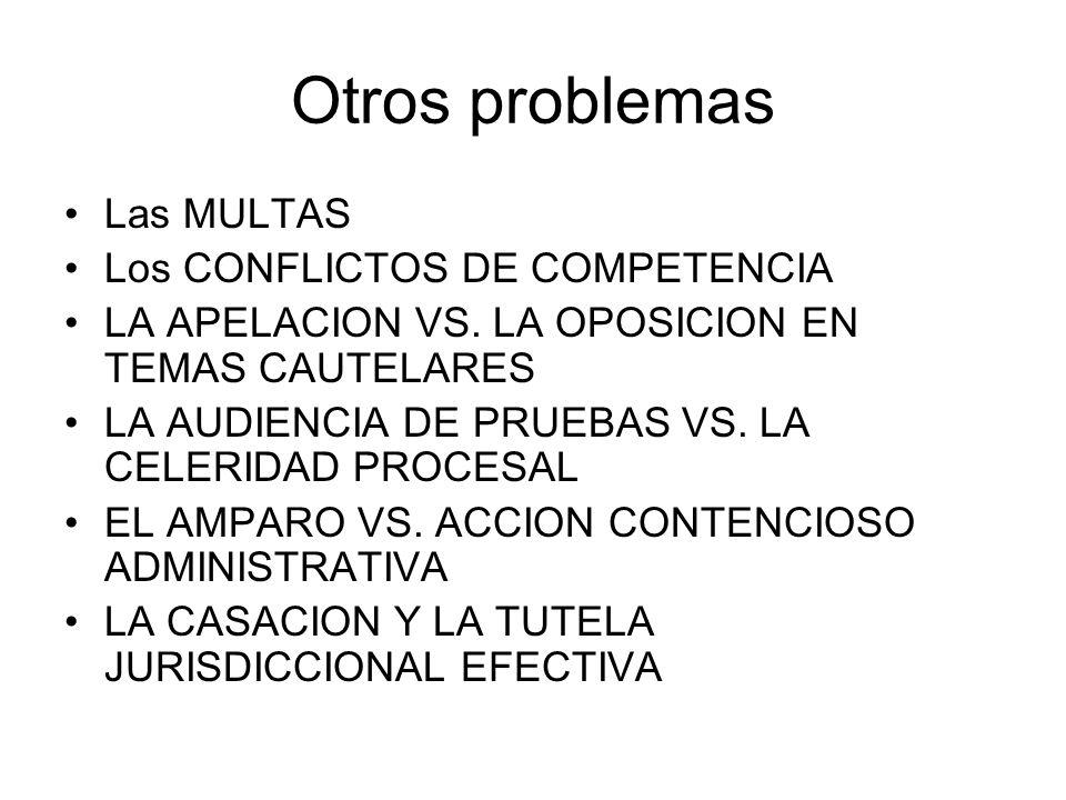 Otros problemas Las MULTAS Los CONFLICTOS DE COMPETENCIA