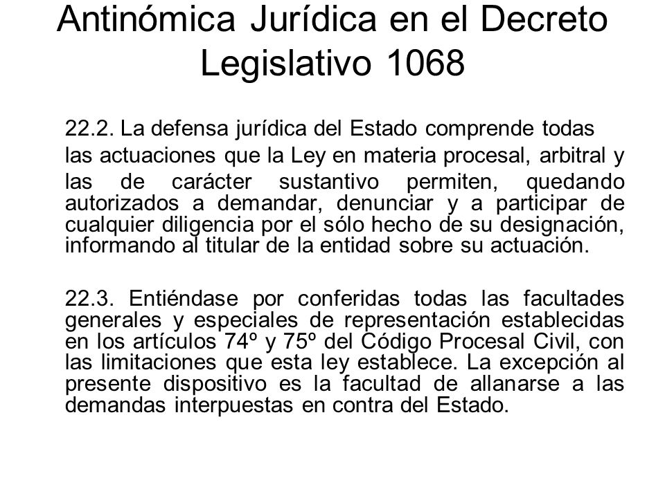 Antinómica Jurídica en el Decreto Legislativo 1068