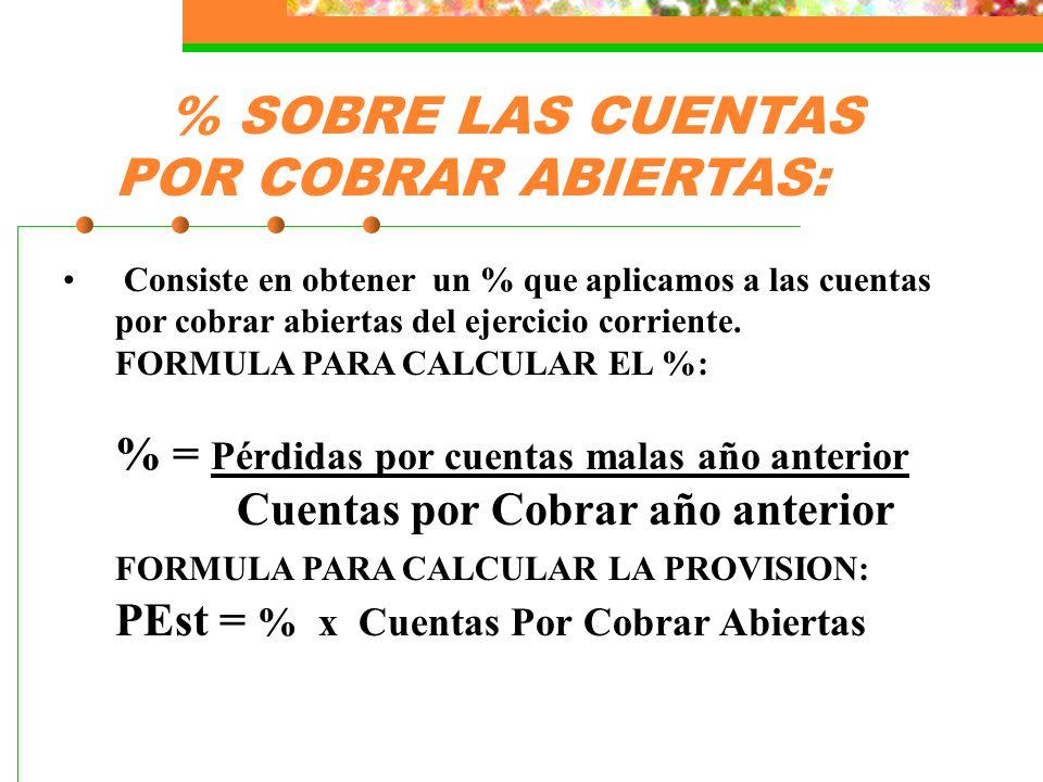 % SOBRE LAS CUENTAS POR COBRAR ABIERTAS: