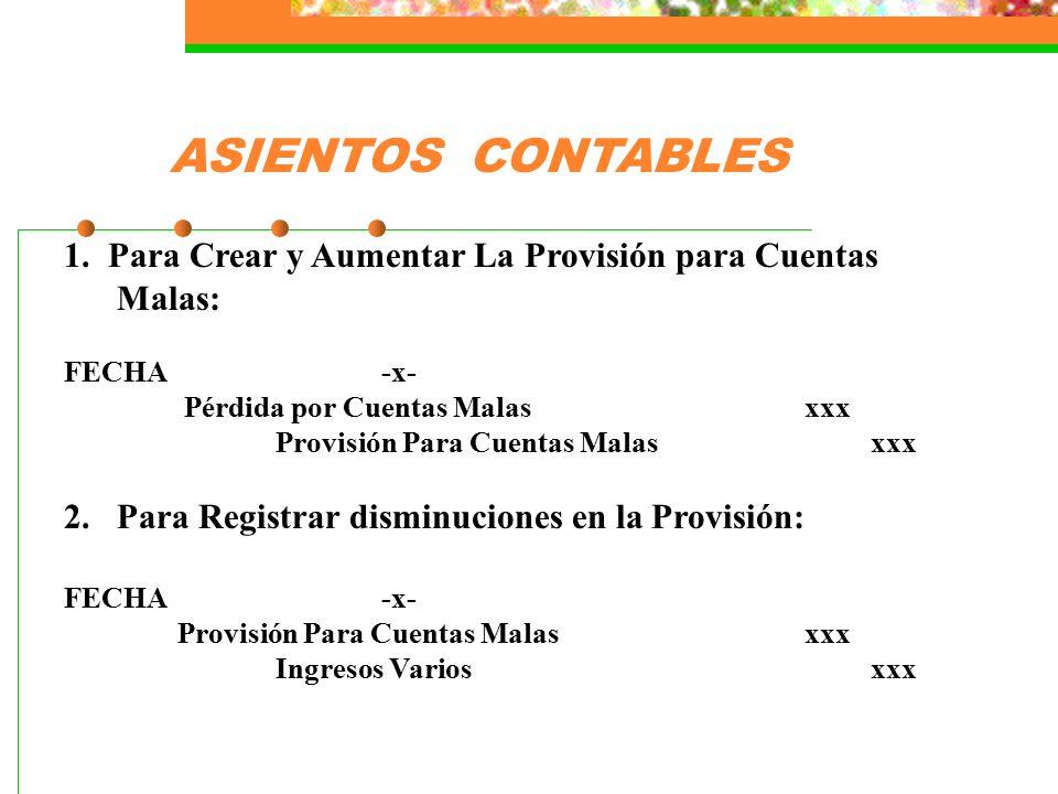 ASIENTOS CONTABLES 1. Para Crear y Aumentar La Provisión para Cuentas Malas: FECHA -x- Pérdida por Cuentas Malas xxx.