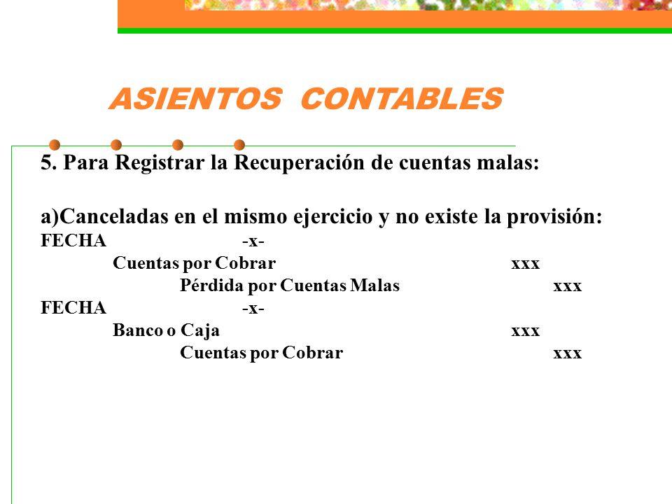 ASIENTOS CONTABLES 5. Para Registrar la Recuperación de cuentas malas: