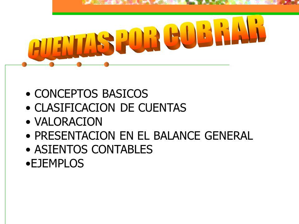 CUENTAS POR COBRAR CONCEPTOS BASICOS CLASIFICACION DE CUENTAS