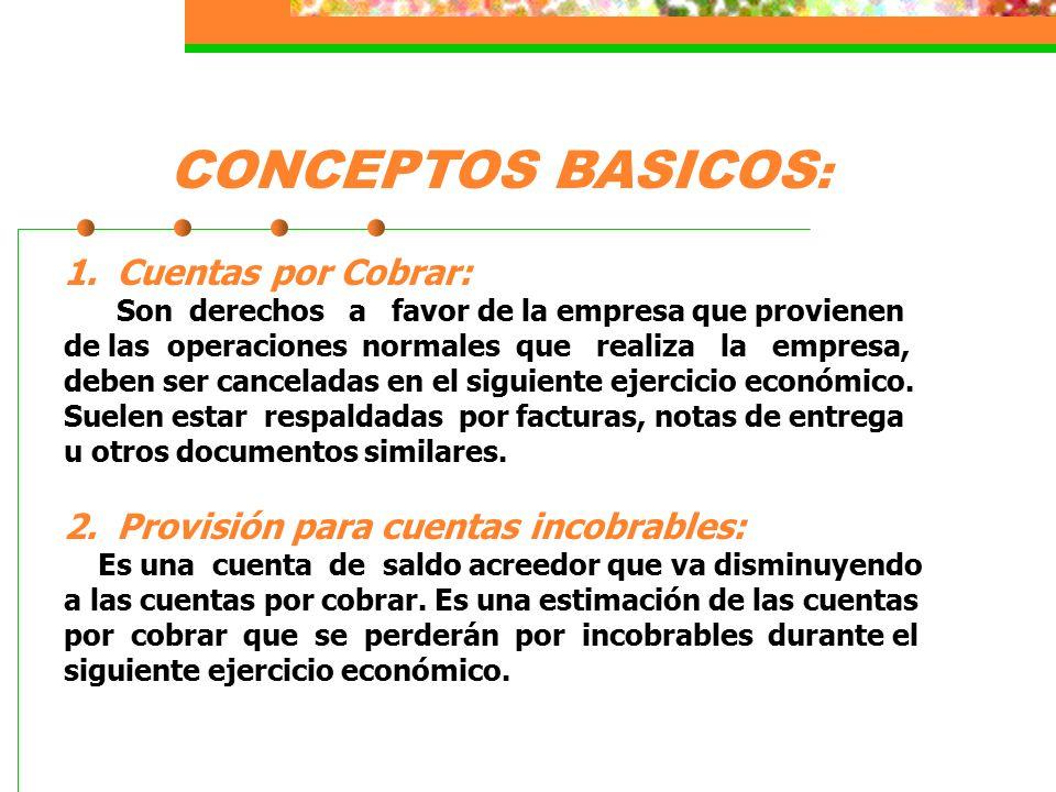 CONCEPTOS BASICOS: Cuentas por Cobrar: