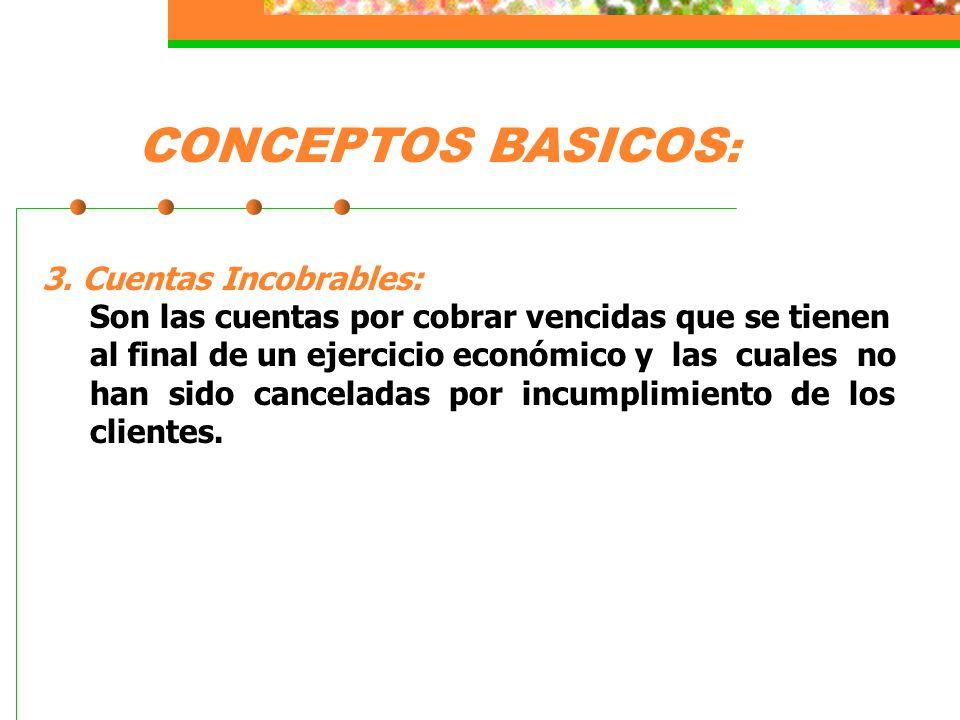 CONCEPTOS BASICOS: 3. Cuentas Incobrables: