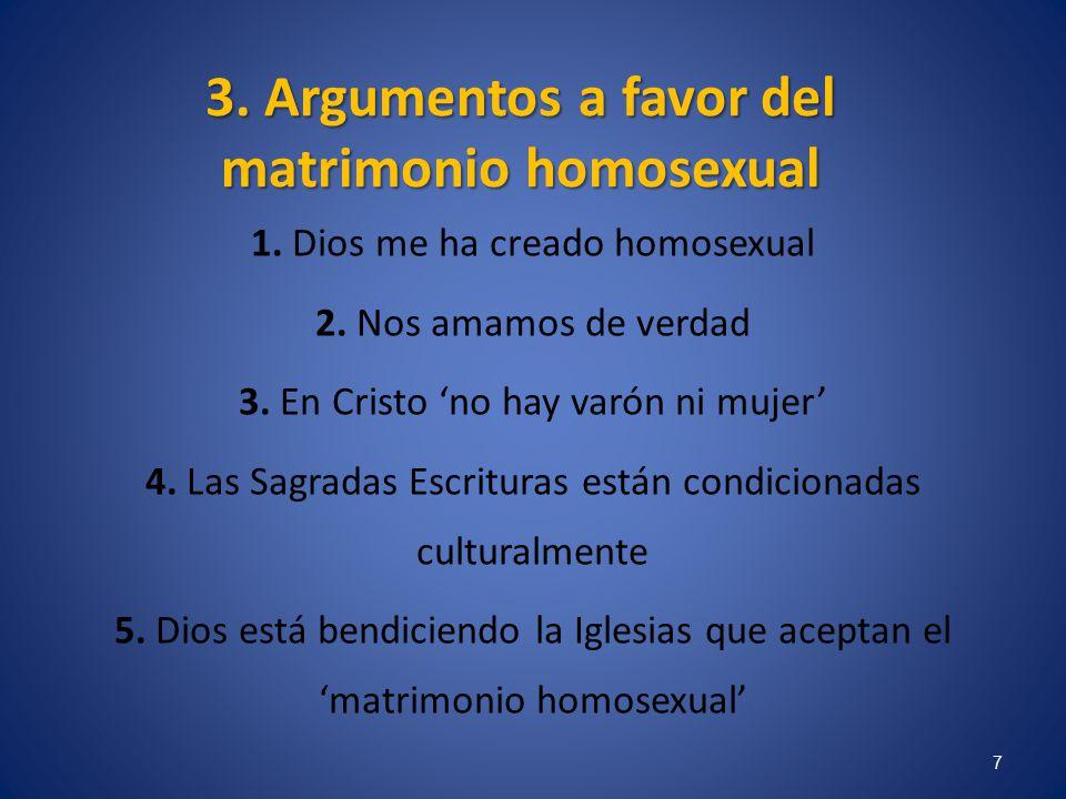 3. Argumentos a favor del matrimonio homosexual