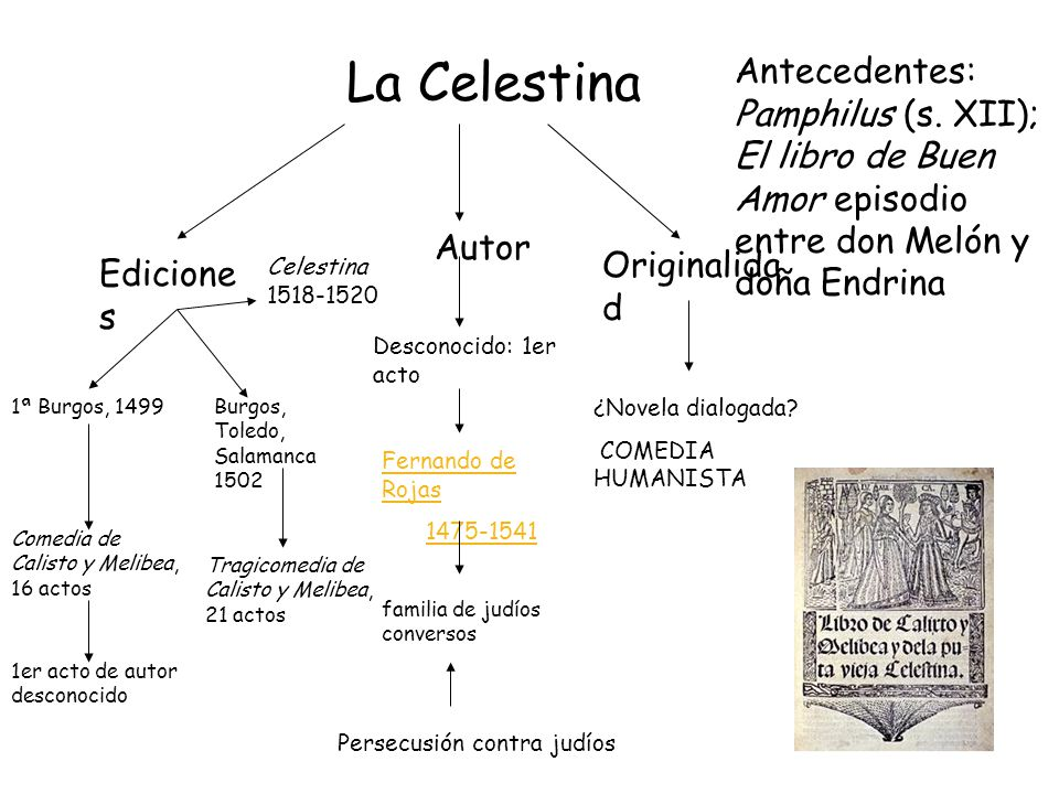La Celestina Antecedentes: Pamphilus (s. XII); El libro de Buen Amor episodio entre don Melón y doña Endrina.